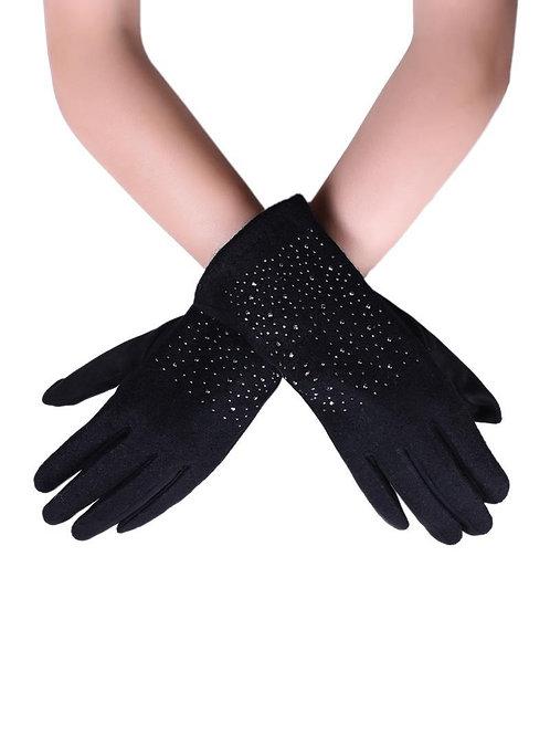 Studded black touchscreen gloves