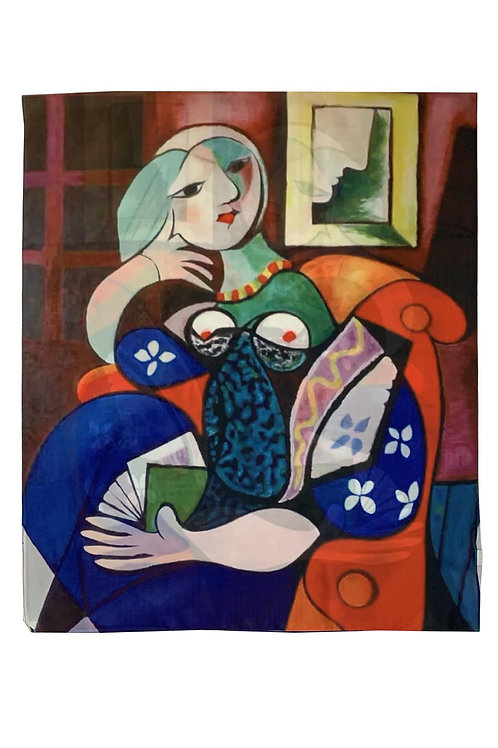 Picasso' woman with a book silk scarf