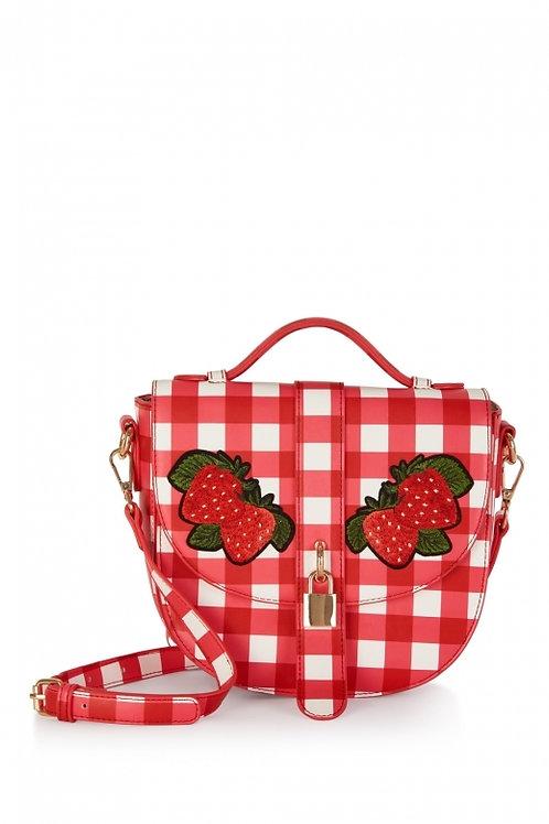 Collectif lulu hun red gingham Strawberry bag