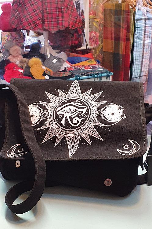 Banned apparel all seeing eye sun/moon messenger bag