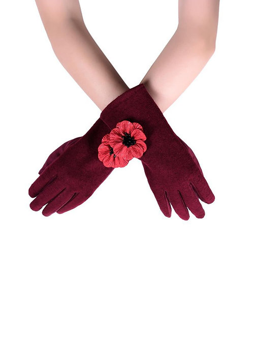 Poppy Flower touchscreen gloves