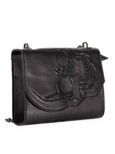 Banned apparel mini embossed skull bag
