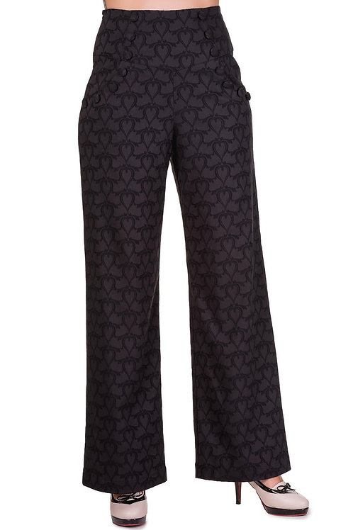 Banned Apparel black trouser with barbed hearts