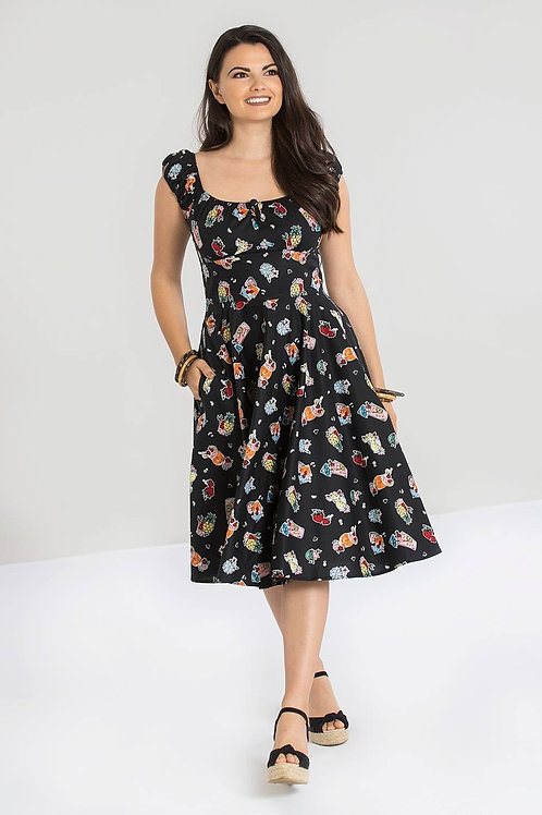 Cocktail print 50's swing dress