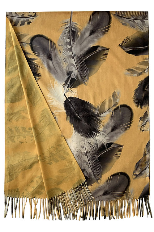 Feather print mustard wool scarf
