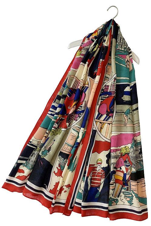 Roy Lichtenstein style pop art scarf
