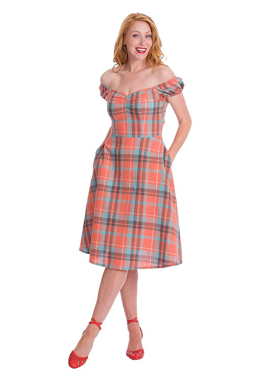 Banned Apparel orange check dress