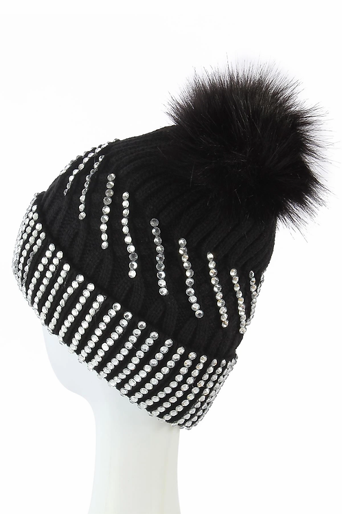 Diamante black faux pom pom hat