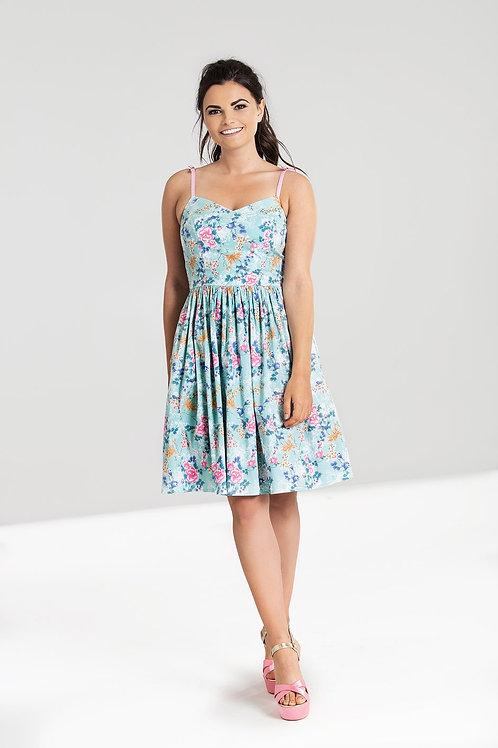 Oriental floral mid dress