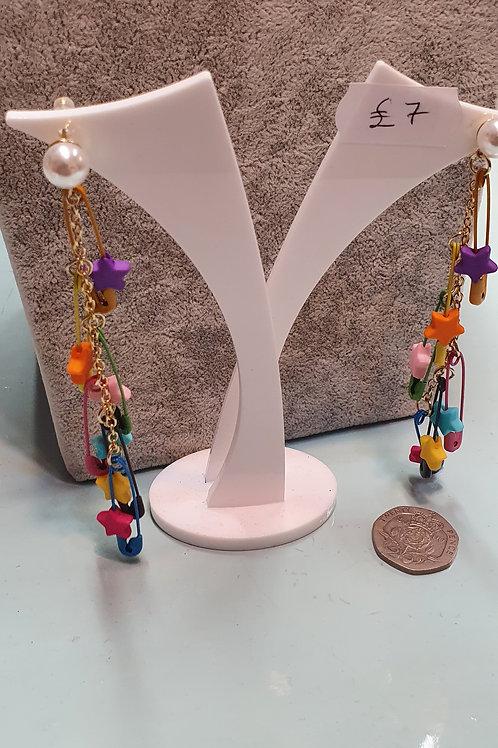 Saftey pin dangle earrings