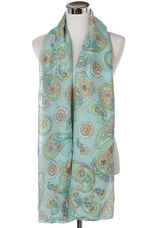 Paisley print soft scarf blue