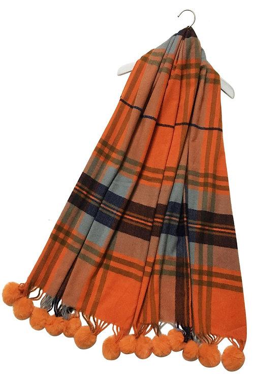 Tartan check wool tassel scarf