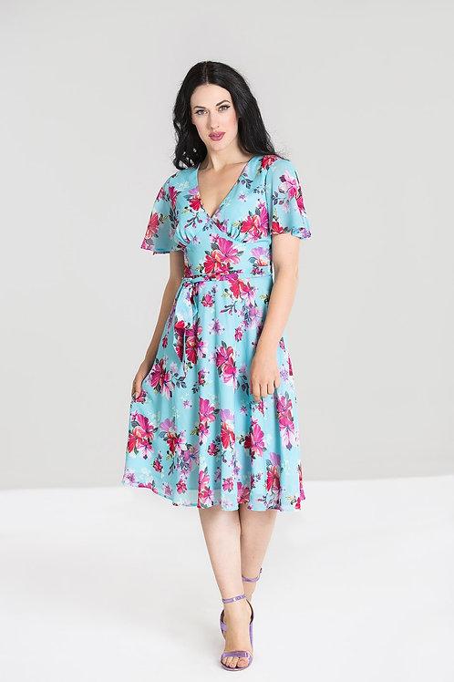 Blue and pink chiffon dress