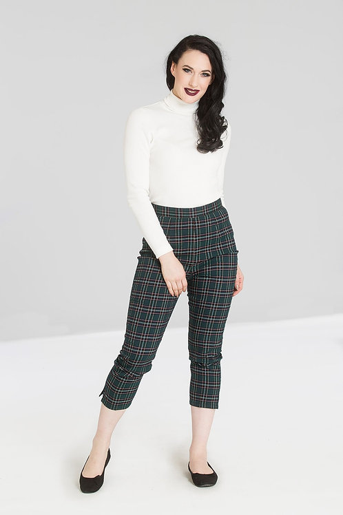 Green tartan cigarette trousers