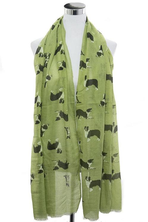 Border Collie dog green lightweight scarf