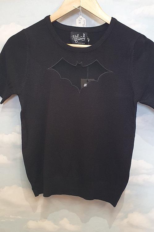 Cutout bat short sleeve jumper