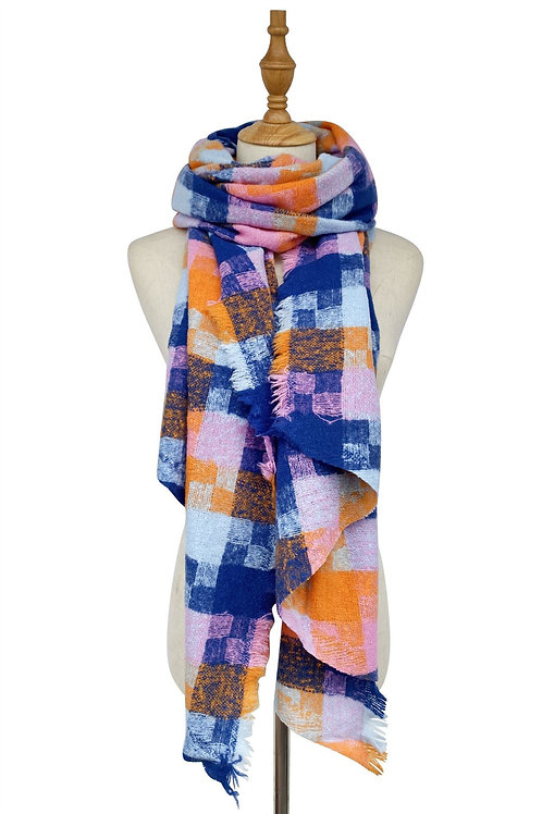 Woven check boucle scarf