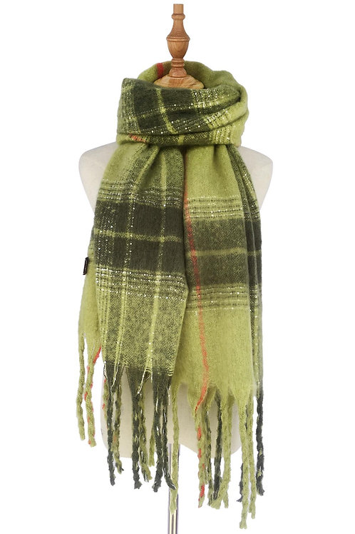 Green tassel scarf with sequin thread