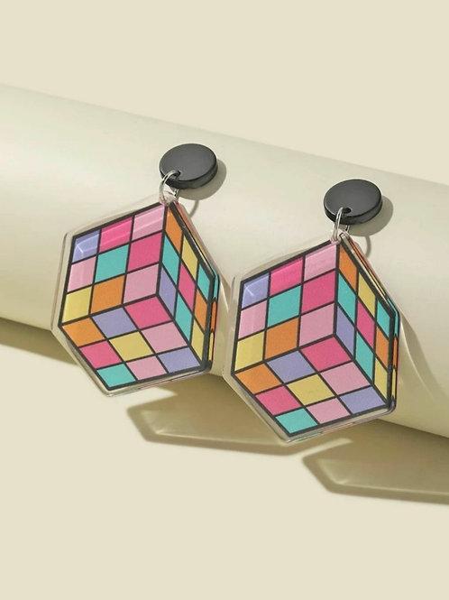 Rubic cube earrings