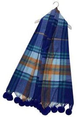 Tartan check blue tassel scarf