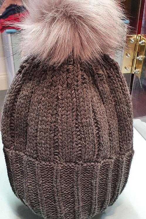 Grey beanie hat faux fur pom pom