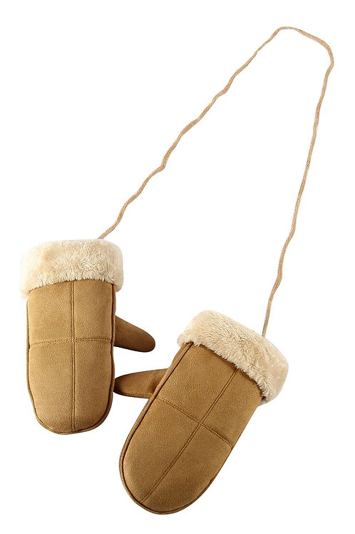 Cosy plain fur lined mittens