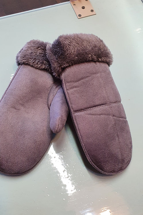 Grey fur lined mittens