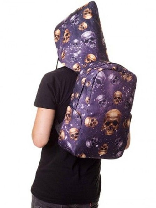 Banned apparel skull backpack with detachable hood
