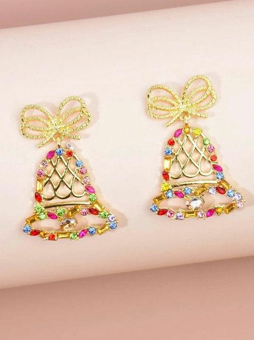 Sparkly bells Christmas earrings