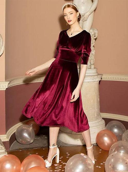 Norah' merlot velvet dress