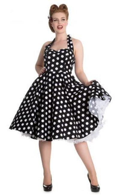 Miriam' black & white poka dot 1950s style dress