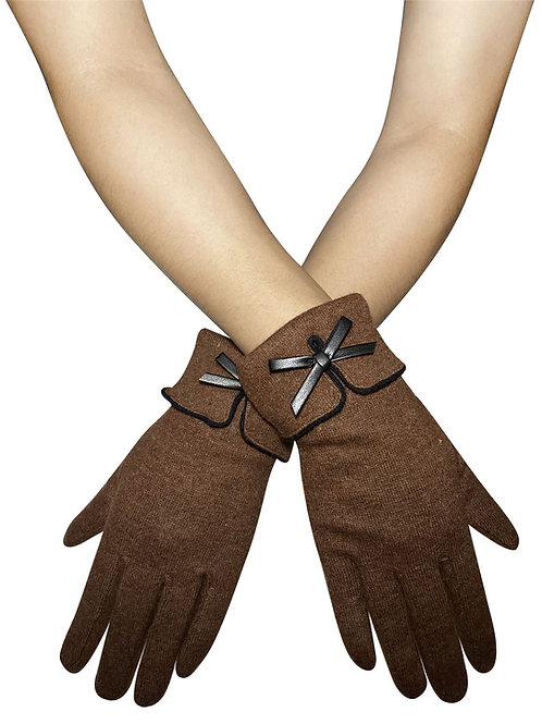 Vintage style bow touchscreen gloves