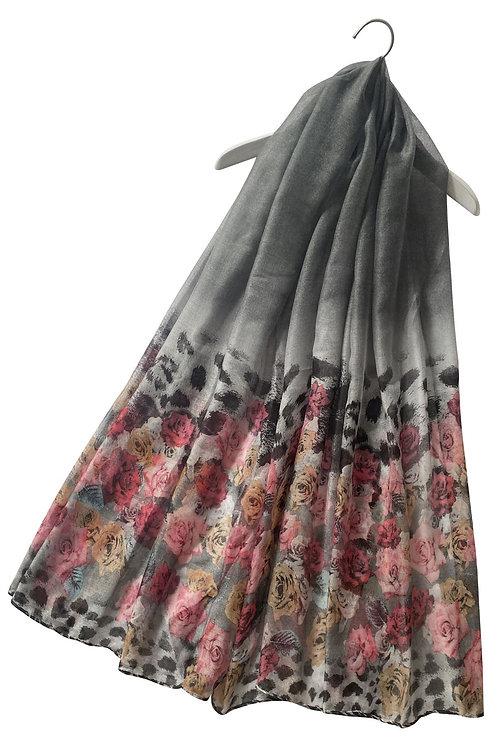 Grey rose print scarf