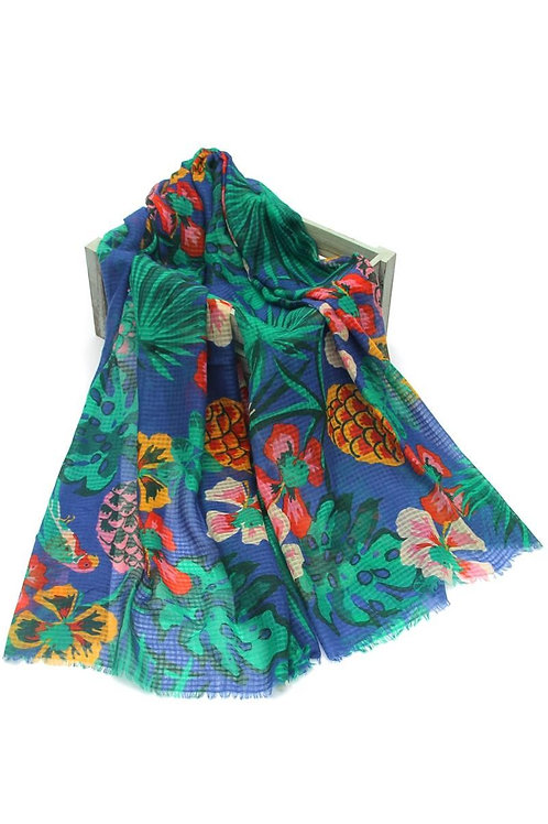 Parrot & pineapple print scarf