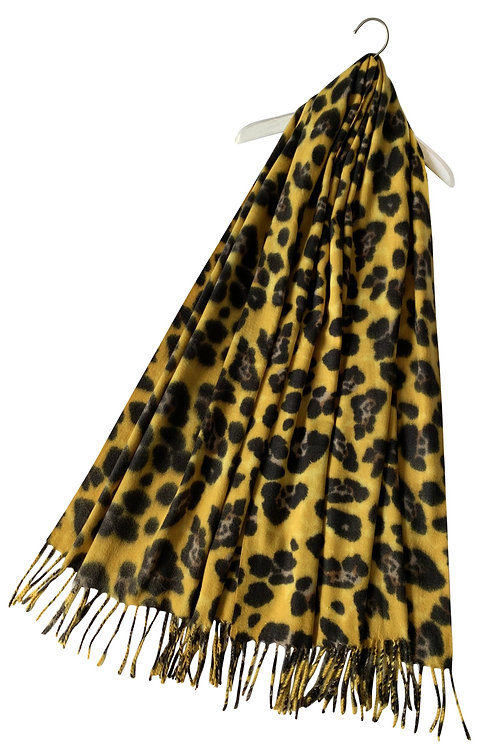 Yellow leopard print wool scarf