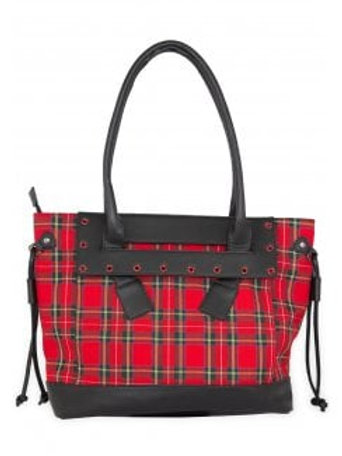 Banned apparel red tartan tote bag