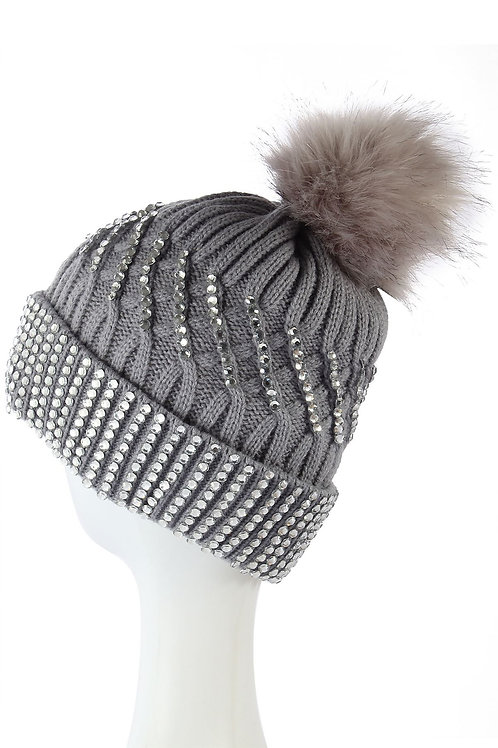 Diamante fleece lined beanie hat