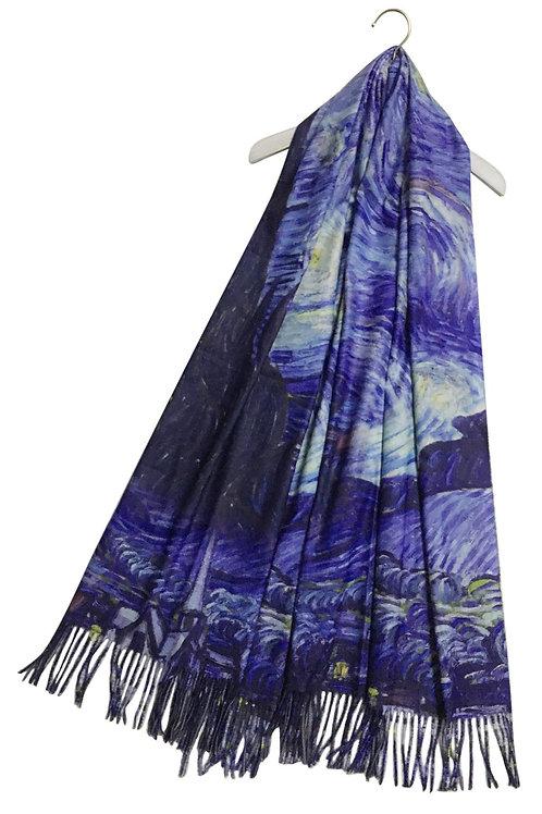 Van Gogh' starry night wool scarf