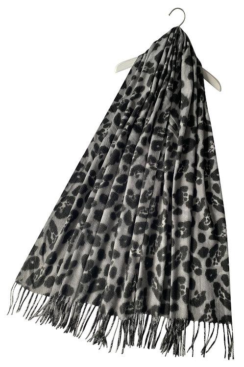 Grey leopard print wool scarf