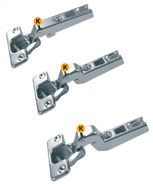 Slide-on hinges with regolations available with crank: 0 - 8 - 15