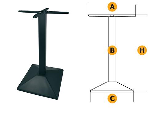 Gamba quadra per tavolo con regolazione, con crociera 450x450 basamento 410x410