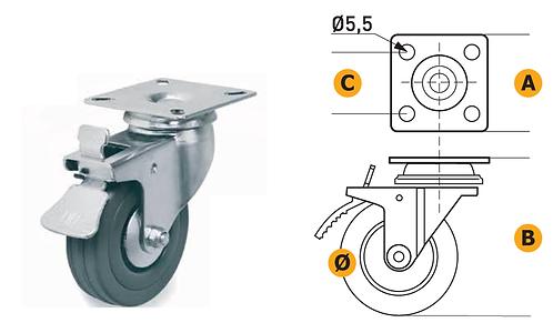 Rubber castor W/Plate in steel. Load capacity 35/40/50 Kg W/Brake