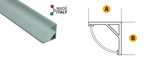Corner profile aluminium. External opaline cover