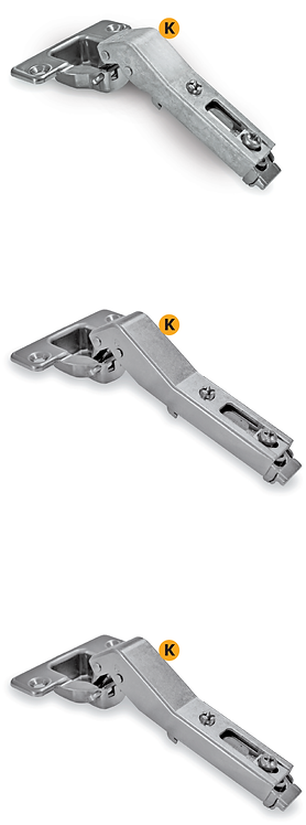 Clip-on zamak hinges opening 90° corners 45° with regolations