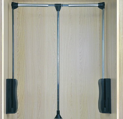 Wardrobe lift, twin arm. Steel with chrome plated. Weight capacity 10 KG