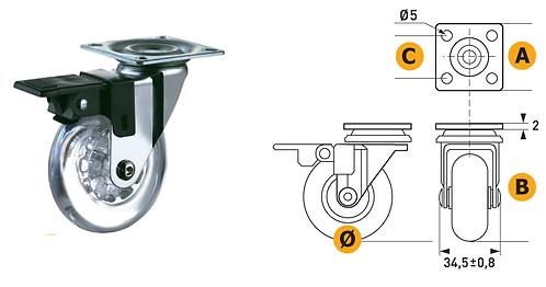 Nylor castor Ø50 W/Plate in steel. Load capacity 40Kg W/Brake