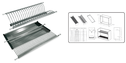 Folding dish drainer with springs. INOX 304