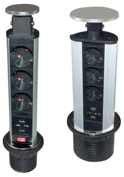 Electrified Tower  Ø60 - 3 Shuko sockets and 2 usb ports