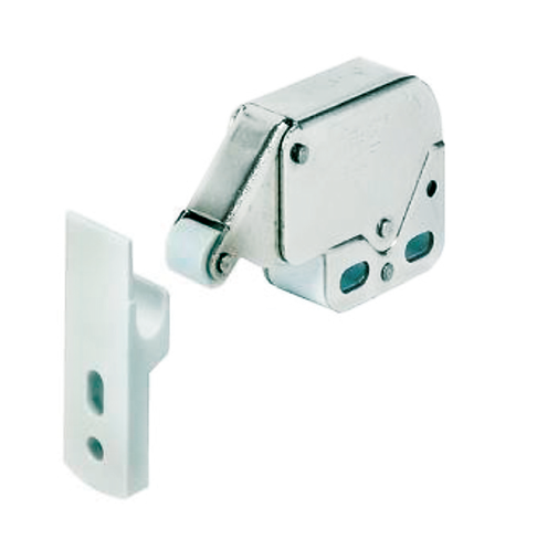 Mini latch, push & open. Plastic hook (white)