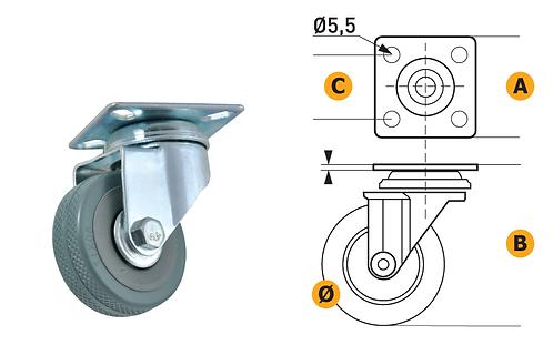 Ruota in gomma c/piastra acciaio. Portata 35/40/50 kg